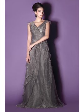 Elegant A-Line V-Neck Sleeveless Floor-length Tiered Taline's Mother of the Bride Dress