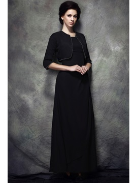 A-Line Floor-length Scoop Polina's Mother of The Bride Dress With Jacket/Shawl