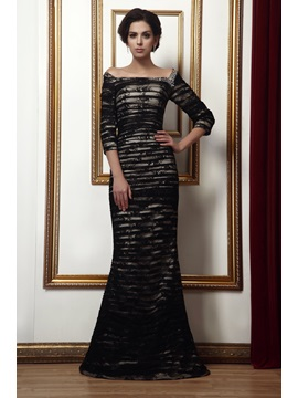 Elegant Beading Trumpet Off-the-Shoulder 3/4-Length Sleeves Taline's Mother of the Bride Dress