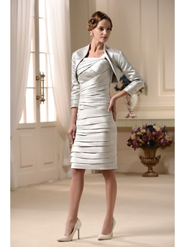 Popularable Tiered Sheath/Column Square Neckline Knee-length Mother of the Bride Dress