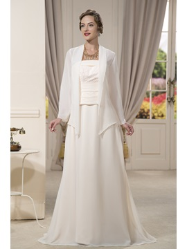 Beaded Sheath Strapless Floor-Length Mother of the Bride Dress