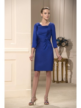 Gorgerous Sheath Ruched A-Line Square Neckline Knee-Length Mother Dress