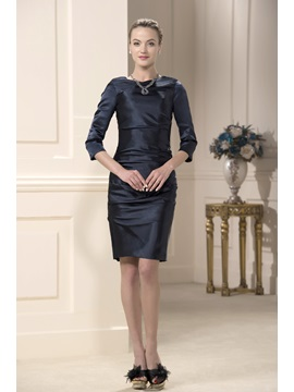 Jewel Neck Knee-Length Sheath/Column Classic Mother of the Bride Dress