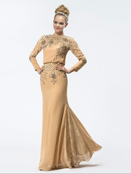 Glamorous Sheath Long Sleeves Jewel Mother Dress