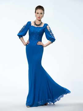 Stunning Trumpet Square Neck 3/4-Length Sleeve Appliques Mother of the Bride Dress