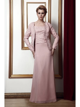 Sheath/Column Square Neckline Floor-Length Alina's Mother of the Bride Dress With Jacket/Shawl