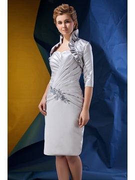 Gorgeous Sweetheart Beaded Pleats Column Knee-length Alina's Mother of the Bride Dress With Jacket/Shawl