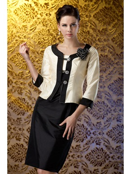 Elegant Column Square Neckline Knee-Length Polina's Mother of the Bride/Office Dress With Jacket/Shawl