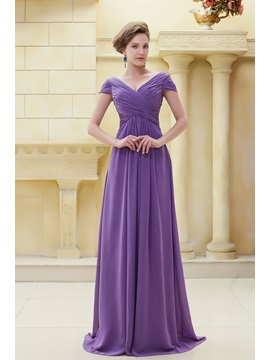 Delicated Pleats Sheath V-Neckline Floor-Length Ela's Mother of the Bride Dress