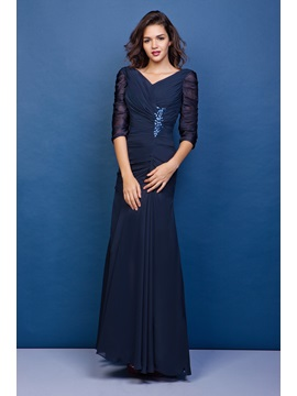 Gorgeous Mermaid V-neck 3/4-length Sleeves Floor-Length Juliana's Mother Of The Bride Dress