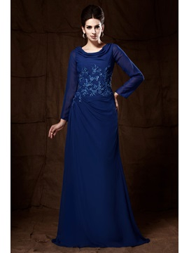 Marvelous Appliques Sheath Long-Sleeves Scoop Necline Mother of the Bride Dress