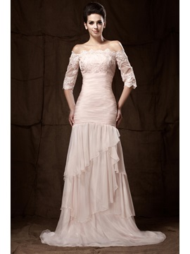 Fabulous Off-the-Shoulder Appliques Tiered Mermaid Half SleevesTaline's Evening Dress
