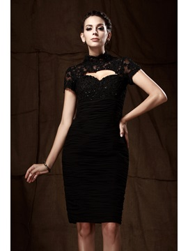 Lace Sheath/Column High-Neck Short-Sleeves Knee-Length Taline's Mother of the Bride Dress