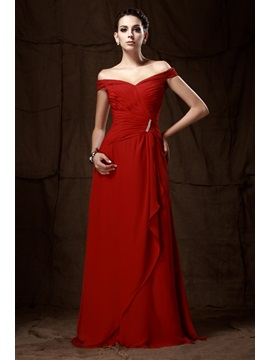 A-line Floor-length Off- the-shoulder Taline's Mother of The Bride Dress