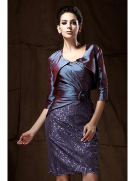 Delicated Lace Flower Sheath Knee-Length Strapless Taline's Mother of the Bride Dress With Jacket/Shawl
