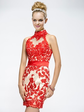 Awesome Demountable Sheath Appliques High-Neck Cocktail/Party Dress