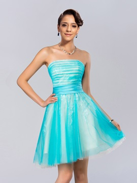 Simple Style Strapless Ruched Lace A-Line Short Cocktail Dress