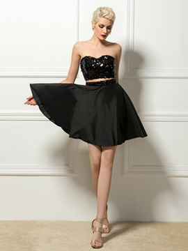 Trendy Sweetheart Two-Pieces Sequins A-Line Short Cocktail Dress