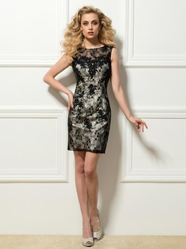 Epidemic Round Neck V-Back Lace Short Sheath Cocktail Dress