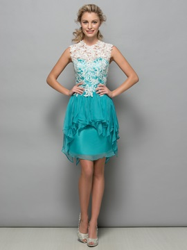 Chic Tiered Ruffles Lace Short Column Cocktail Dress