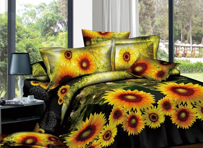 Camouflage Sunflowers Active Printed 4 Piece Cotton Comforter Sets