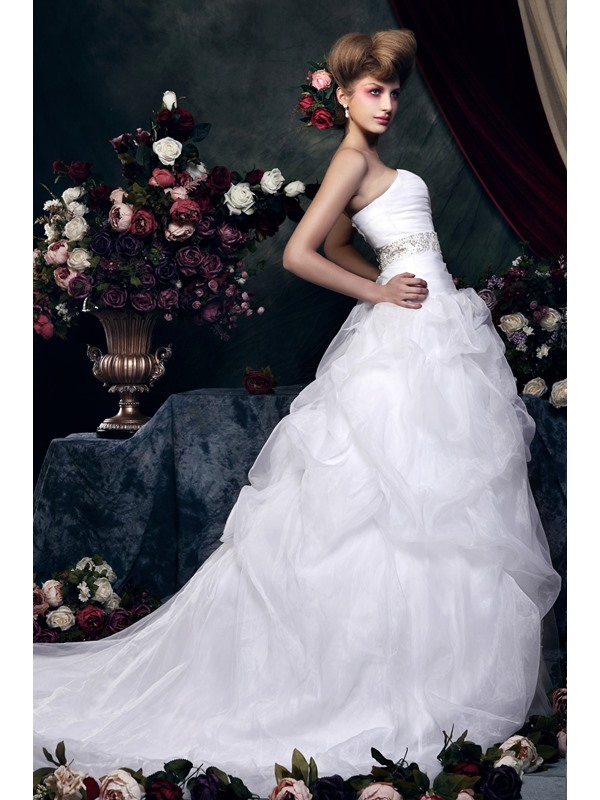 Awesome Ball Gown Sweetheart Chapel Train Ruched &Beaded Zaraiska's Wedding Dress