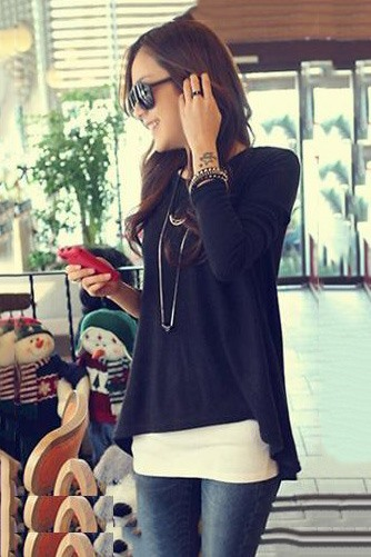 New Lovely Loose Round Neckline Trim T-Shirt