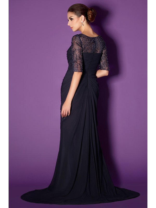 Fabulous Bateau Sheath/Column Short-sleeve Floor-length Lace Taline's Mother of The Bride Dress