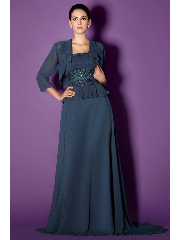 Fantastic Lace Trimmed Flowers Sheath Strapless Taline's Mother of the Bride Dress With Jacket/Shawl(Free Shipping)