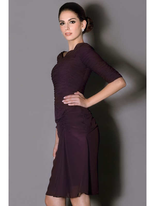 Gorgeous Sheath Pleats Half-Sleeves Knee-length Taline's Mother Of The Bride Dress