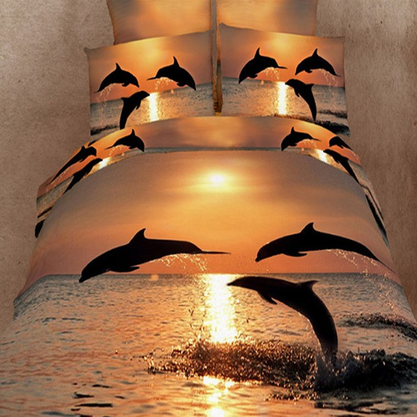 Jumping Dolphin in the Setting Sun 4 Piece Cotton Bedding Sets (Free Shipping)