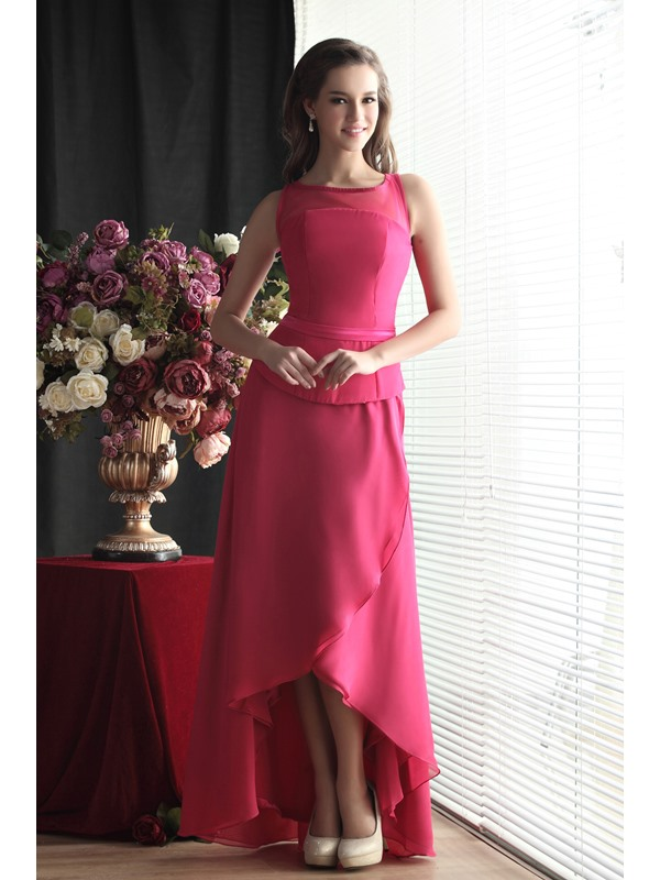 Charming A-Line Asymmetry Jewel Neckline Sandra's Bridesmaid Dress