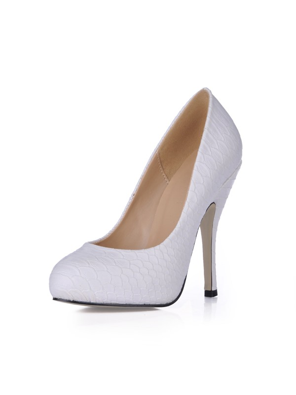 White PU Stiletto Heels Closed Toe Prom/Evening Shoes