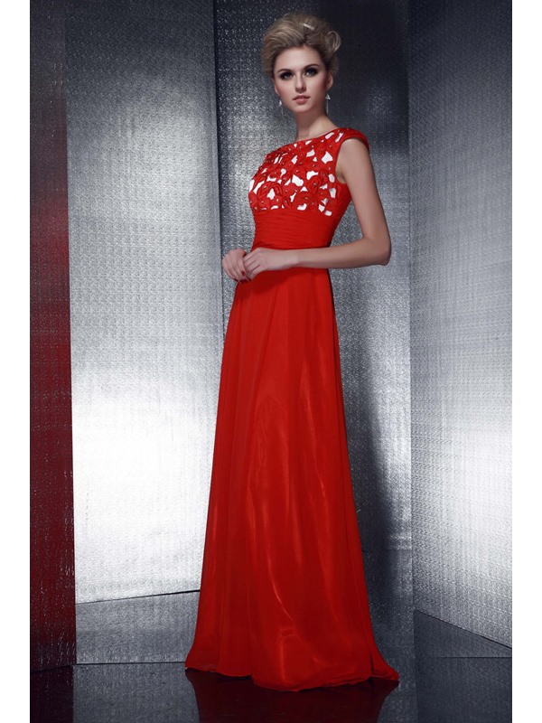Graceful Empire Waistline Appliques Beading A-Line Floor-Length Dasha's Evening Dress