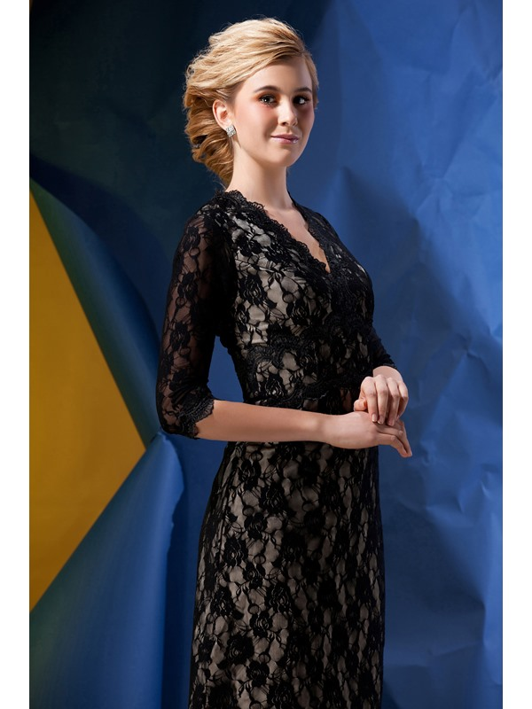 Romantic Lace A-Line V-Neck Half-Sleeves Tea-length Alina's Mother of the Bride dress