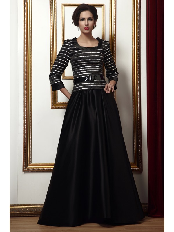 Fantastic Glittering Ribbons Floor-Length 3/4-Sleeves Square Neckline Taline's Mother Of The Bride Dress