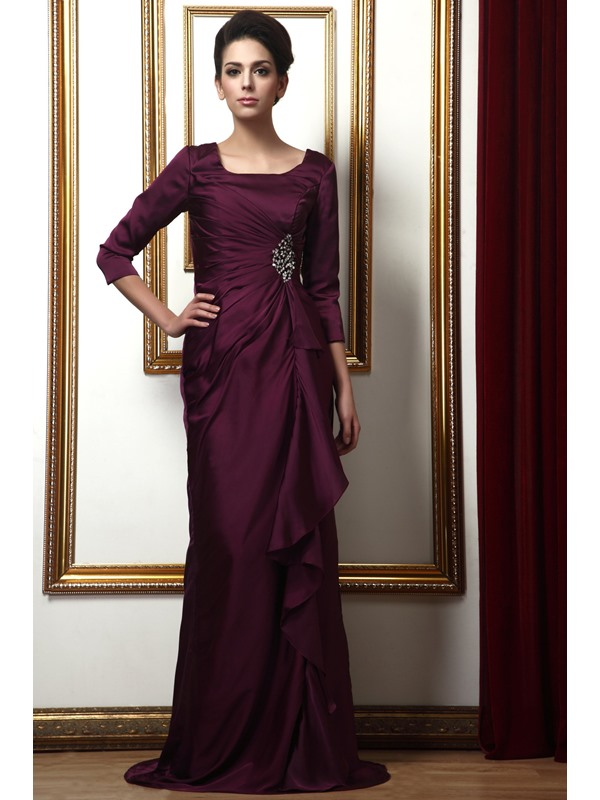 Delicated Draped Sequins A-Line Square 3/4-Sleaves Long Taline's Mother of the Bride Dress(Free Shipping)