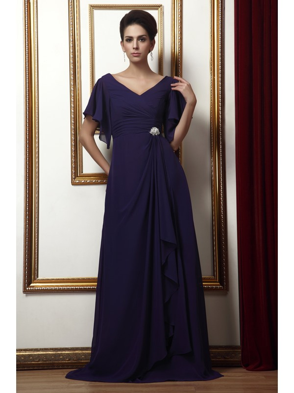 Draped Floral Crystal Pin A-Line Short-Sleeves V-neck Long Taline's Mother of the Bride Dress