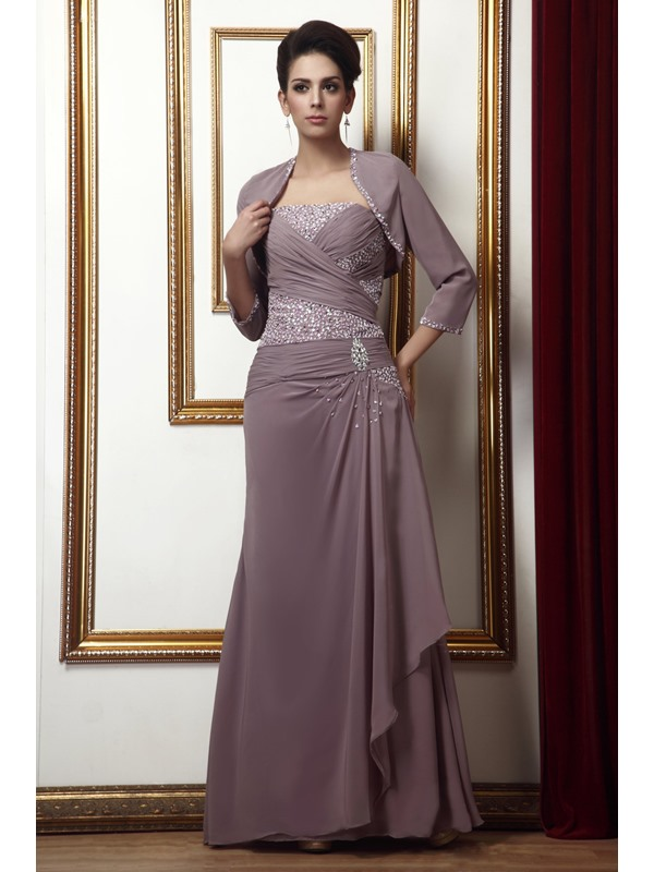 Fabulous Beading Sequins A-Line Strapless Long Taline's Mother of the Bride Dress With Jacket/Shawl