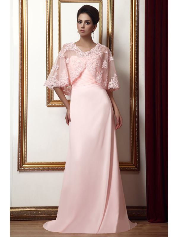 Delicate A-Line Sweetheart Pleats Long Taline's Mother of the Bride Dress With Jacket/Shawl