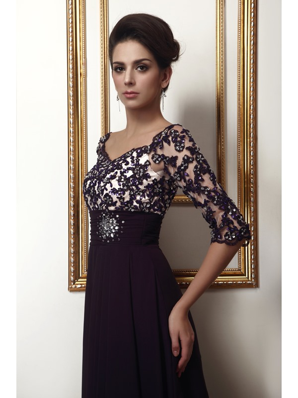 Vintage Appliques Beading Half Sleeves Long Taline's Mother of the Bride Dress(Free Shipping)