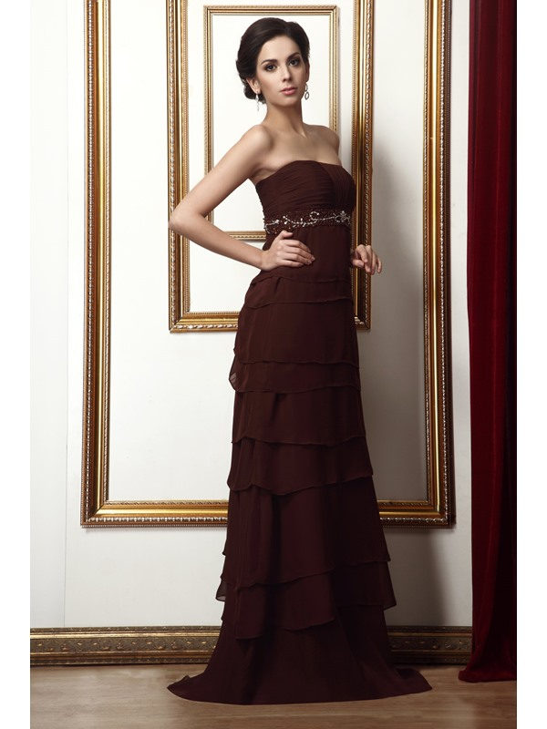 Beaded Pleats Tiered A-Line Strapless Floor-Length Taline's Mother of the Bride Dress With Jacket/Shawl