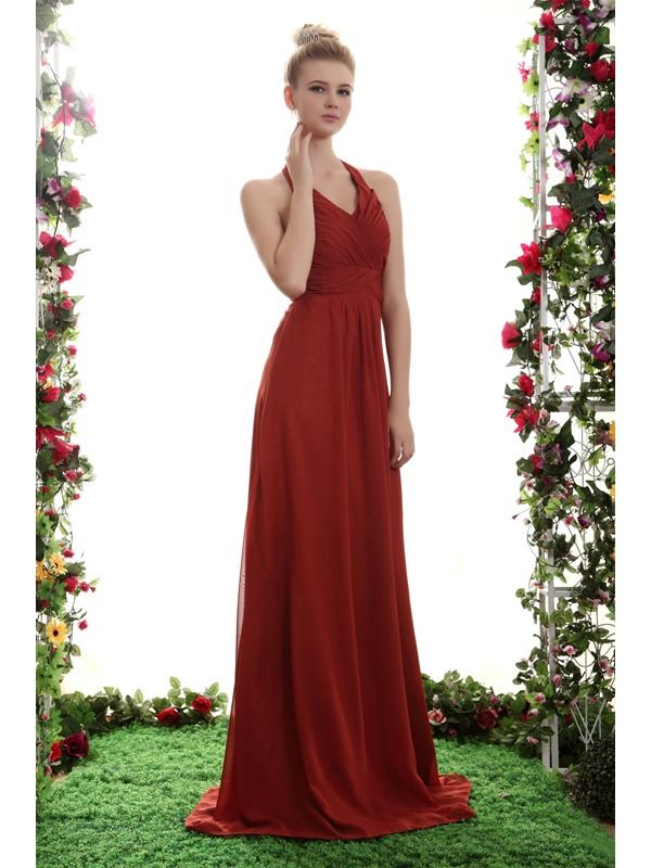 Fabulous A-Line Empire Waist Floor-length Halter Yana's Bridesmaid Dress