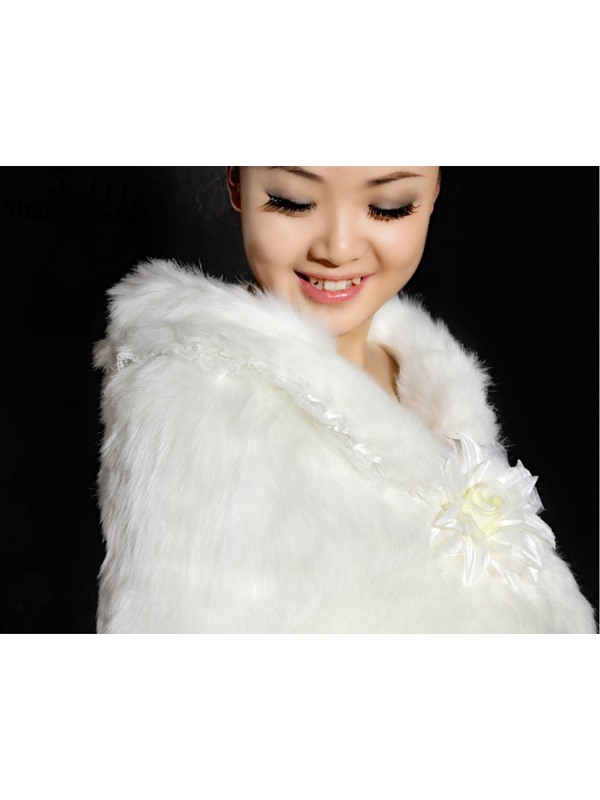 Amazing Long Faux Fur Wedding Jacket/Wrap/Shawl with Flower(more colors)