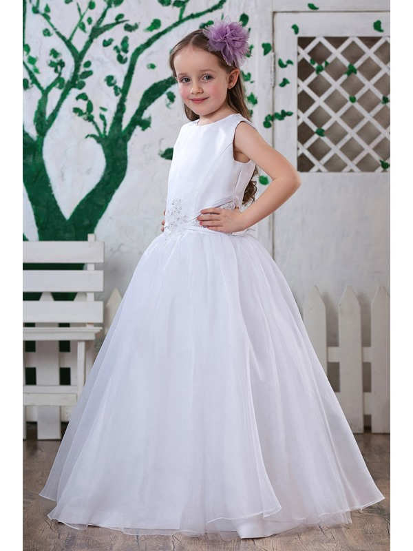 A-Line Round-neck Floor-Length Flower Girl Dress