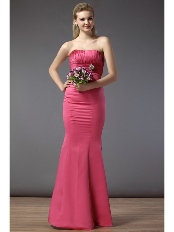 Pretty Mermaid Strapless Crystal Floral Pin Ruched Empire Floor-Length Bridesmaid Dress