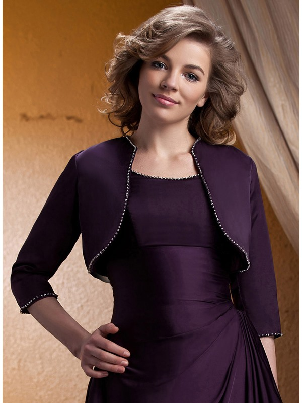 Charming Lady's 3/4 Sleeve Rhinestones Trimmed Evening/Wedding Jacket