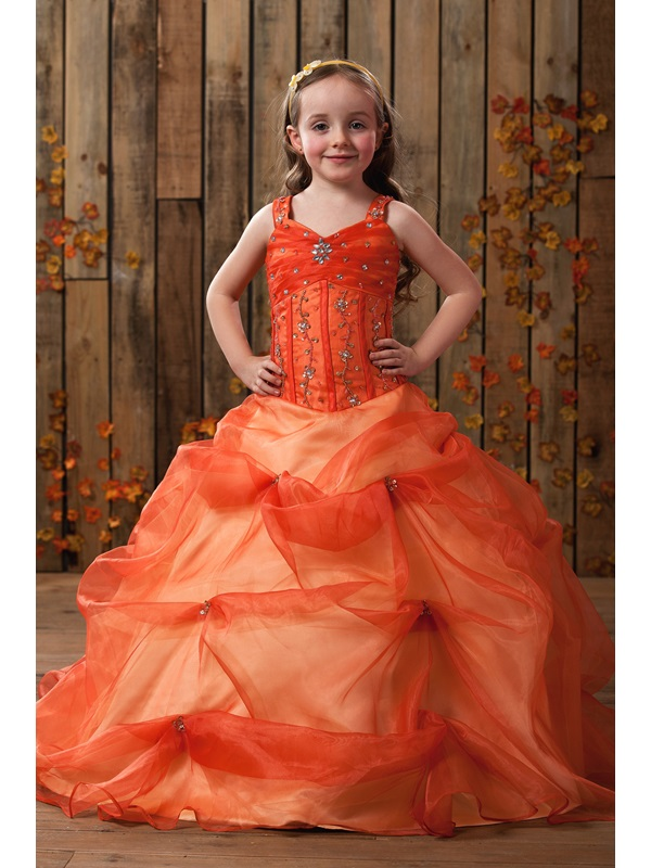 Amazing Straps Ball Gown Floor-length Beading & Ruched Flower Girl Dress