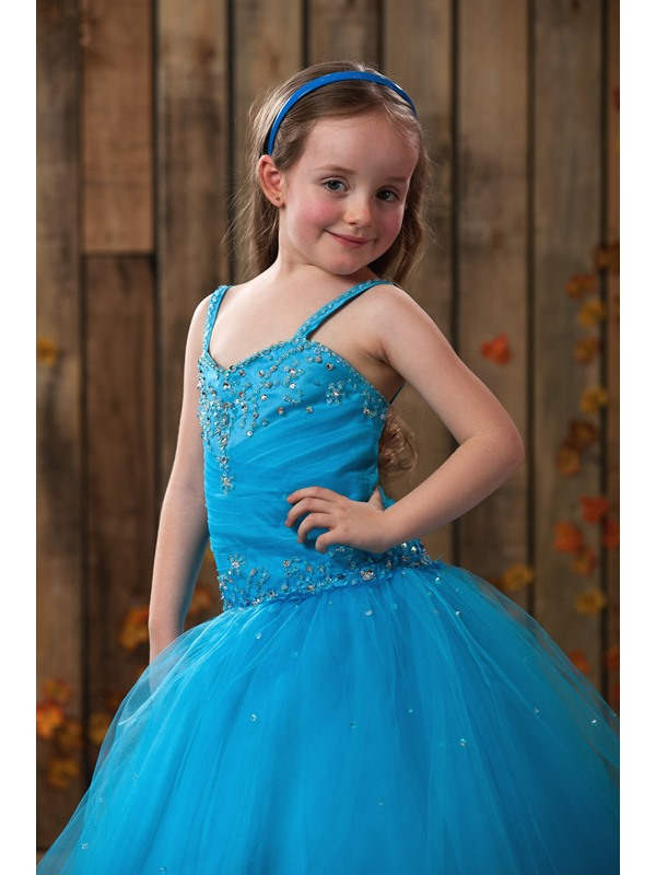 Attractive Ball Gown Floor-length Appliques Spaghetti Straps Flower Girl Dress
