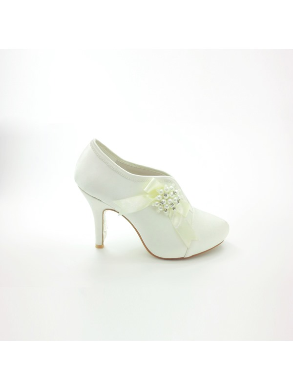 Exquisite Closed Toe Stiletto Heels Wedding Bridal Shoes